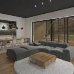 Obývací pokoj s rovným stropem