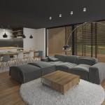 Moderní obývací pokoj s rovným stropem